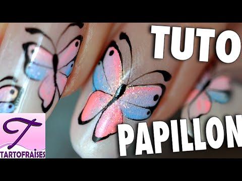Tuto nail art Papillon féérique bicolore en dégradé
