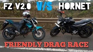 HONDA HORNET 160R VS YAMAHA FZ-S V2 DRAG RACE ON HIGHWAY