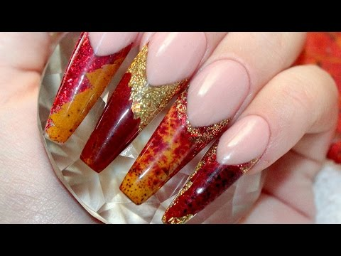 🍁 REAL DRIED LEAVES 🍁 ACRYLIC NAIL TUTORIAL