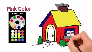 TyTy Kids Tv | Baby Learn Color for kids with House | How to Draw House