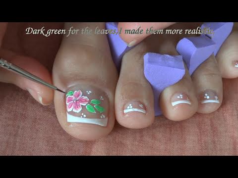 Toes art design French pedicure - Beautiful flower - Spring Summer live tutorial