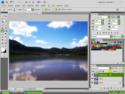 Photoshop Tutorial Paisajes Efecto reflejo agua