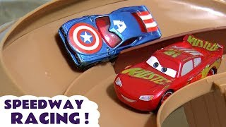 Cars McQueen in Speedway Racing with the Hot Wheels Superhero cars and funny Funlings TT4U