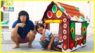 24 hours challenge overnight in the Christmas gingerbread Playhouse outside!!!