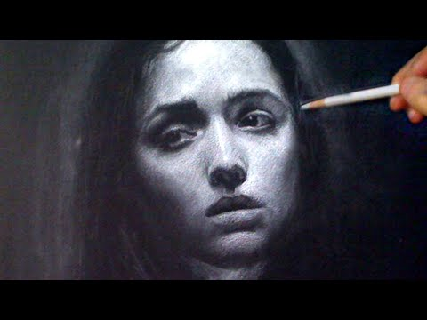 Beautiful White Charcoal Portrait - Melancholy mood