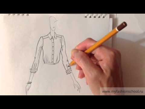 Видео как нарисовать эскиз платья