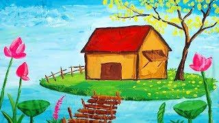Học vẽ tranh phong cảnh cùng bố Bé Sữa    How to draw Landscape
