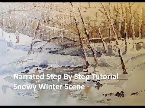 Transparent Watercolor Narrated Step by Step Tutorial  Snowy Winter Scene