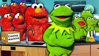 Kermit the Frog and Elmo's SECRET Cloning Machine! (ELMO OVERLOAD)