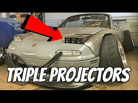 DIY Triple Projector Headlights On a Miata!