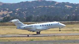 Xojet Bombardier Challenger 300 taking off from Livermore Municipal Airport