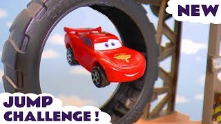 Cars Lightning McQueen jump race against Hot Wheels Dinosaur T-Rex car with funny Funlings TT4U