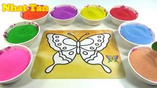 QUẢ BÓNG TRÒN TRÒN!Đồ chơi trẻ em TÔ MÀU TRANH CÁT HÌNH CON BƯỚM Colored Sand Painting