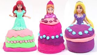 Disney Princess Elsa Anna Ariel Rapunzel Cinderella Play Doh Cake Surprise Toys For Kids