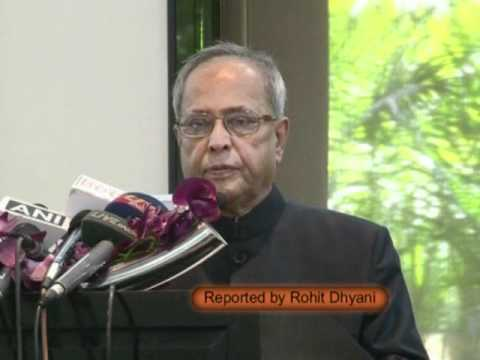 Pranab Mukherjee on book launched Land of Two Rivers, Reported by Rohit Dhyani.