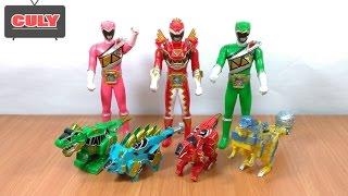 Bộ 3 Siêu nhân điện long và 4 thú điện khủng long đồ chơi trẻ em power rangers thunder dino toy kids