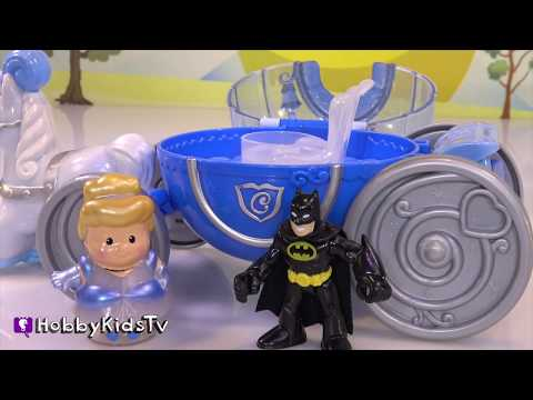Little People CINDERELLA Carriage! Imaginext Batman + Surprise Egg by HobbyKidsTV