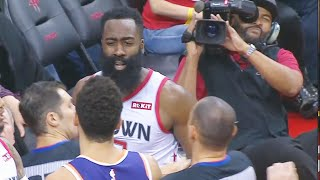 James Harden Wanna Fight Devin Booker But Both Softly Shove Each Other! Rockets vs Suns