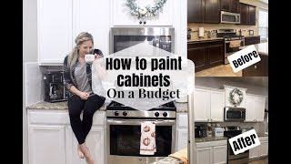 HOW TO PAINT KITCHEN CABINETS ON A BUDGET | DIY DARK TO WHITE CABINETS