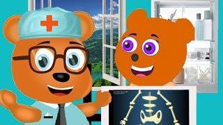 Mega Gummy bear visits the Doctor Cartoon Animation Nursery Rhymes
