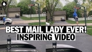 Mail Lady Encourages a Boy to Score a Basket | Viral Video!