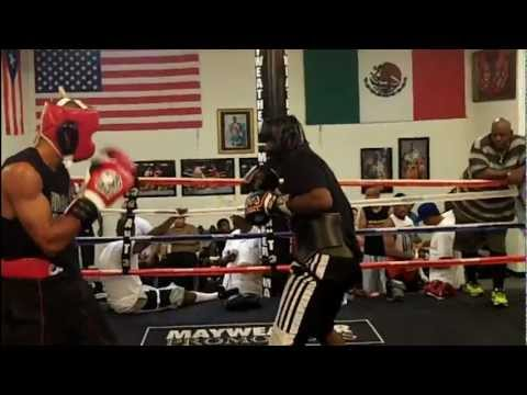 Sparring at the Mayweather Boxing Club: Ismayl Sillakh and Zachary Bunce (August 2012) Image 1