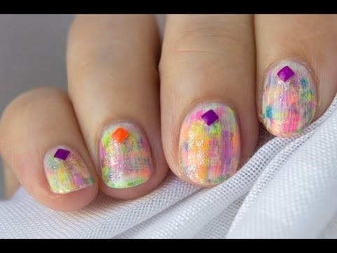 Diseño fácil para uñas cortas neon / Easy short nails neon distressed design