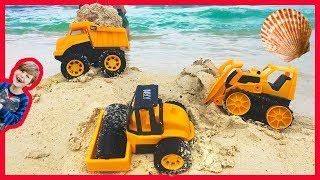 Construction Trucks for Kids Working at the Beach