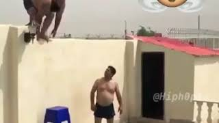 Fat man jump in pool tsunami