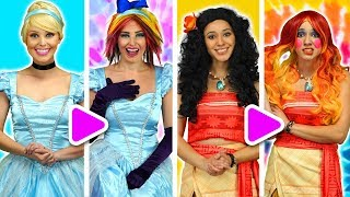 CINDERELLA'S STEPSISTERS GIVE MAKEOVERS TO DISNEY PRINCESSES MOANA, TIANA AND RAPUNZEL.