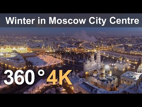 360°, Winter in Moscow City Centre, Russia, 4K aerial video