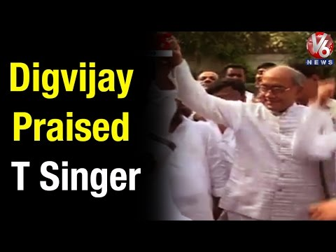 Digvijay Singh acclaims Telangana singer at Kisan Rally meet - Teenmaar News(18-04-2015)
