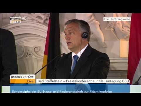 Flüchtlingspolitik: PK von Seehofer und Orbán am 23.09.2015