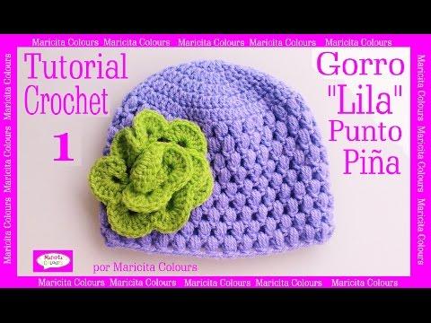 Crochet Tutorial Fácil Gorro Bebe Lila (Parte 1) - Subtitles in English & Deutsch