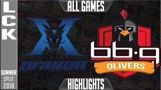 KZ vs BBQ Highlights ALL GAMES | LCK Summer 2018 Week 2 Day 6 | King-Zone DragonX vs BBQ Olivers
