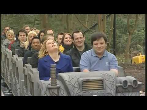 Alton Towers new psychological rollercoaster 'Thirteen' for the 2010 season. GMTV's presenter Marcella Whittingdale takes one of the first rides on the coaster!
