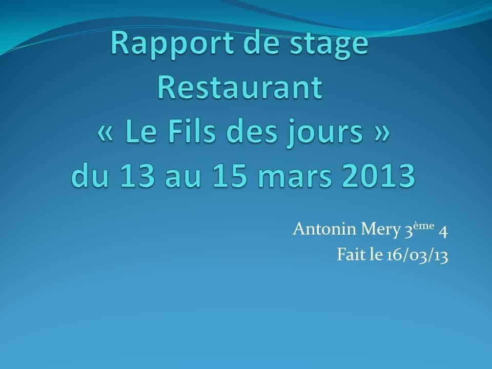 Rapport De Stage 3ème - YouTube