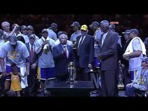 2009 NBA Finals Lakers Championship Trophy Presentation Kobe Bryant Finals MVP Video