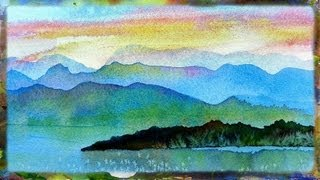Watercolor Painting Demo Imaginary Landscape,  Watercolor Sunset Part 1