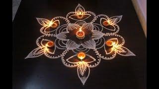 Beautiful & Easy Deepam Rangoli Designs For Diwali 2017 - Diwali Kolam Designs - Muggulu Designs
