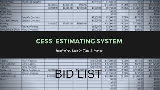 CESS Estimating System Bid List Section #2 - Construction Entrepreneurs
