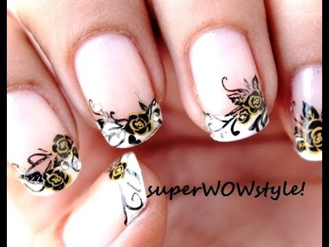 Black Rose! French Tip Nail Designs - With water decals