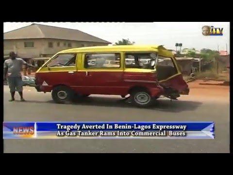 Tragedy averted in Benin as tanker rams into commercial buses