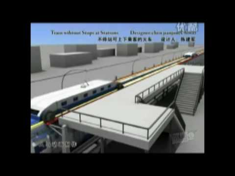 The train that never stops at a station -- people can embark and disembark- Chinese Concept