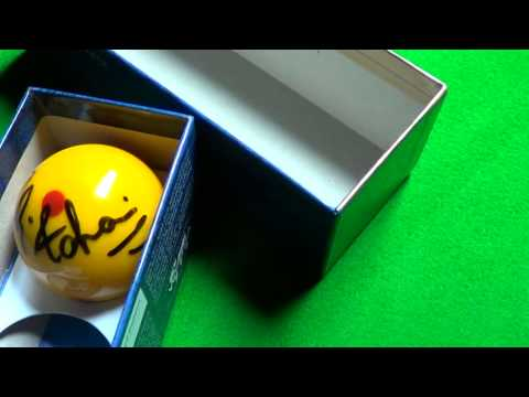 Advani & Hall autographed cueballs used in World Billiards final