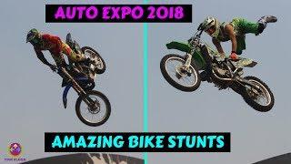 BIKE AND CAR STUNT SHOW AT AUTO EXPO 2018