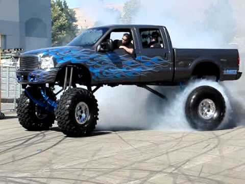 """Chevy Silverado 2018 Lifted >> BIG! Burn Out #2, Ford Superduty on 49"""" tires - YouTube"""