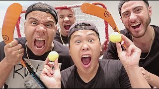 IMPOSSIBLE HOCKEY TRICK SHOTS CHALLENGE!!! (99% OF PEOPLE CAN'T DO THIS)
