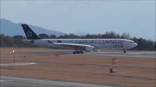 2013.12.29  タイ国際航空 A330-300 Thai Airways International A330 Takeoff at Hiroshoma Airport