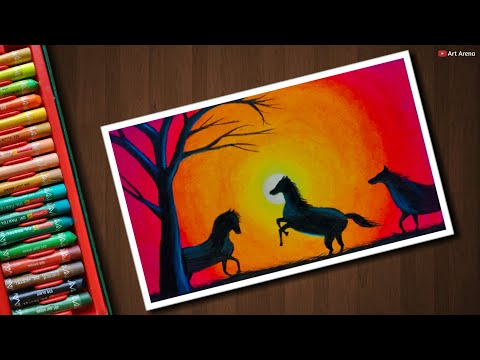 Horse Sunset scenery drawing with Oil Pastels - step by step